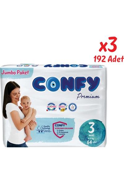 Confy Premium Bebek Bezi 3 Beden Midi 64 Adet x 3 Paket 192'LI