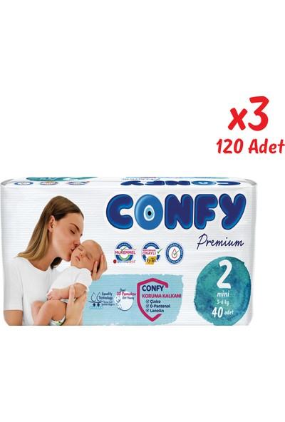 Confy Premium Bebek Bezi 2 Beden Mini 40 Adet x 3 Paket (120 Adet)