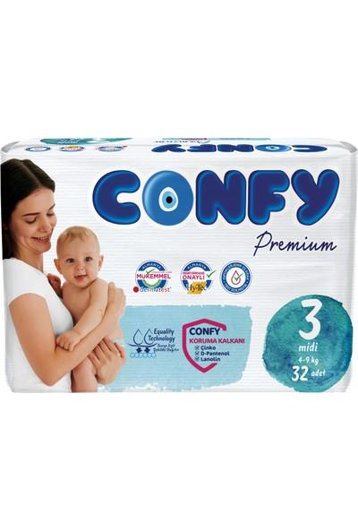 Confy Premium Bebek Bezi 3 Beden Midi 32 Adet