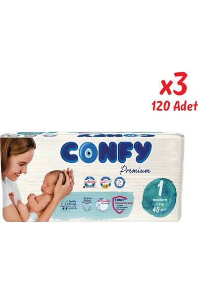 Confy Premium Bebek Bezi 1 Beden Yenidoğan 40 Adet x 3 Paket 120 'li
