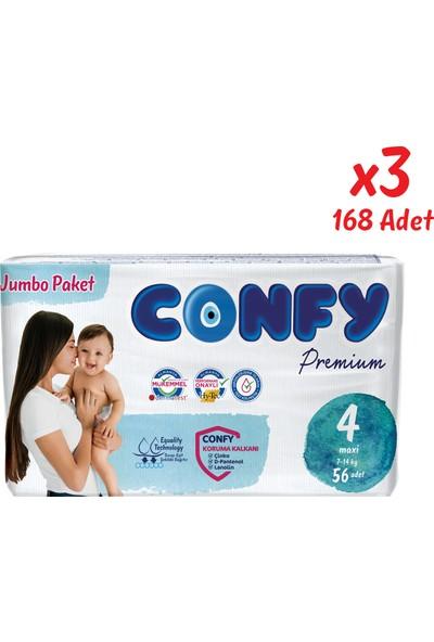 Confy Premium Bebek Bezi 4 Beden Maxi 56 Adet x 3 Paket 168'LI