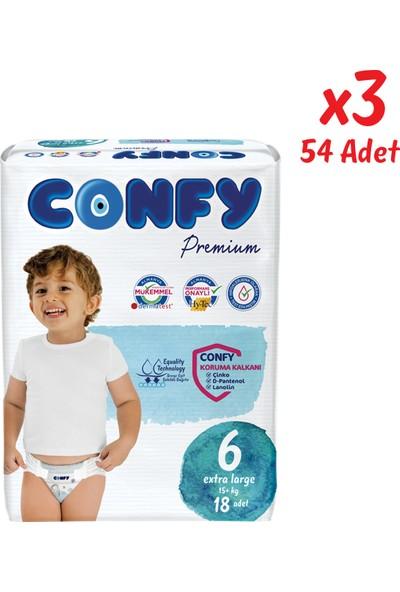 Confy Premium Bebek Bezi 6 Beden Extralarge 18 Adet x 3 Paket (54 Adet)
