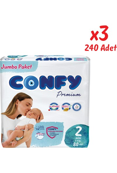 Confy Premium Bebek Bezi 2 Beden Mini 80 Adet x 3 Paket (240 Adet)
