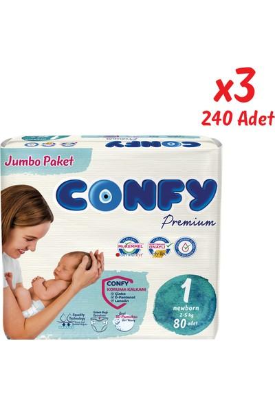 Confy Premium Bebek Bezi 1 Beden Yenidoğan 80 Adet x 3 Paket (240 Adet)