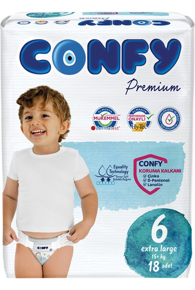 Confy Premium Bebek Bezi 6 Beden Extralarge 18 Adet