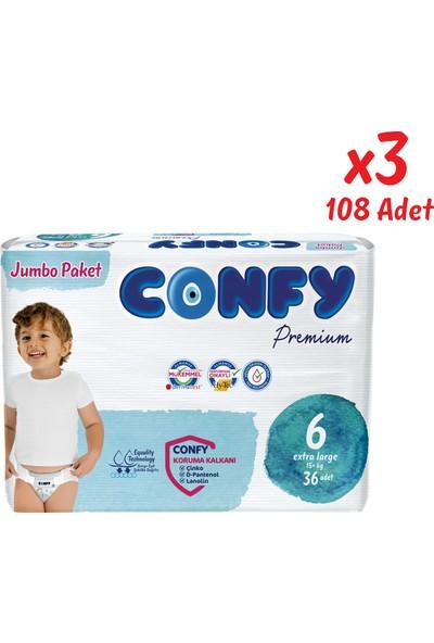 Confy Premium Bebek Bezi 6 Beden Extralarge 36 Adet x 3 Paket (108 Adet)