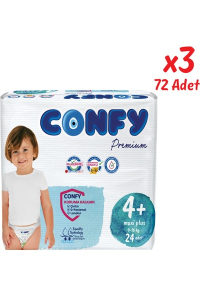 Confy Premium Bebek Bezi 4+ Beden Maxi Plus 24 Adet x 3 Paket (72 Adet)