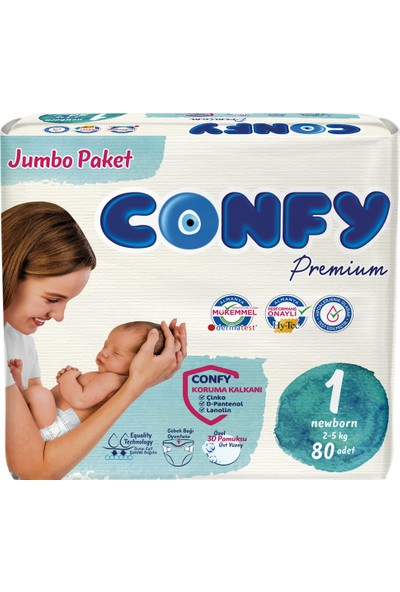 Confy Premium Bebek Bezi 1 Beden Yenidoğan 80 Adet