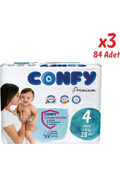 Confy Premium Bebek Bezi 4 Beden Maxi 28 Adet x 3 Paket (84 Adet)