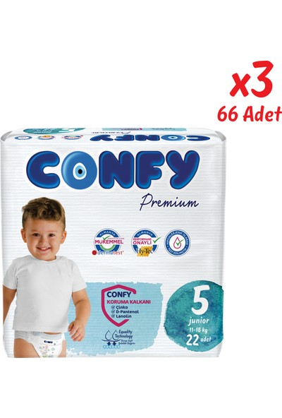 Confy Premium Bebek Bezi 5 Beden Junior 22 Adet x 3 Paket (66 Adet)