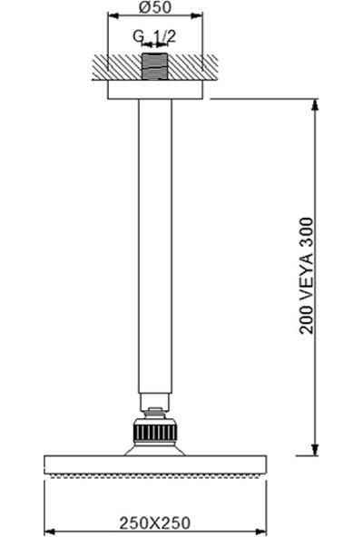 Newarc Corner Duş Başlığı - Tavandan Ayarlı 20X20 cm