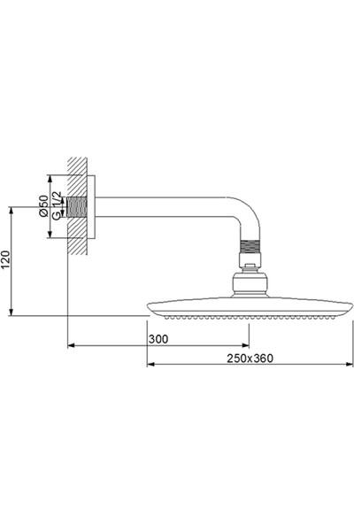 Newarc Power Duş Başlığı - Duvardan Ayarlı 25X36 cm