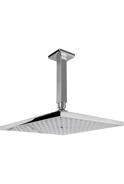 Newarc Corner Duş Başlığı Krom-Metal - Tavandan Ayarlı 25X25 cm