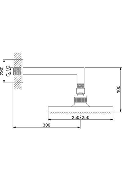 Newarc Corner Duş Başlığı - Duvardan Ayarlı 20X20 cm
