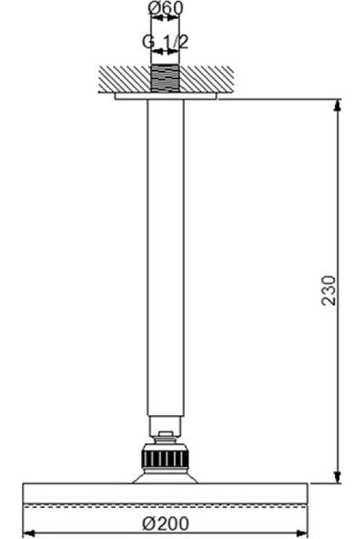 Newarc Domino Duş Başlığı - Tavandan Ayarlı Ø20 cm