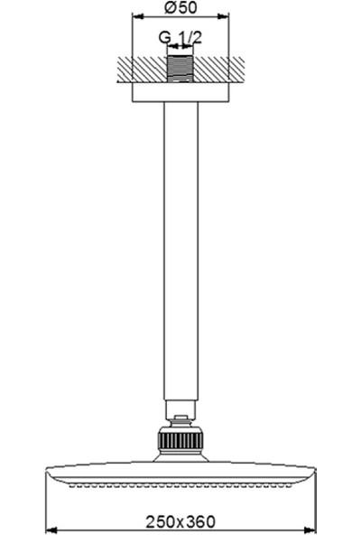 Newarc Power Duş Başlığı - Tavandan Ayarlı 25X36 cm