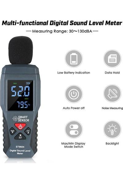 Smart Sensor ST9604 Desibel Ses Seviyesi Gürültü Ölçer Ölçüm 30-130DB Db Dedektörü Ses Test Cihazı