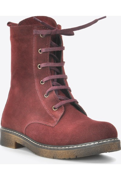 Vizon Ayakkabı Kadın Bordo Nubuk Bot VZN20-036K