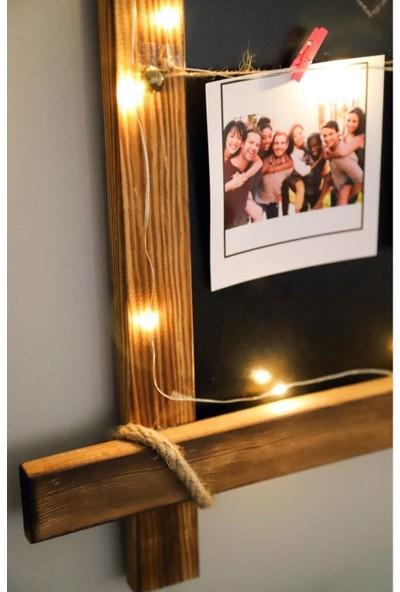 Dünya Magnet Mandallı Ipli LED Işıklı Kara Tahta Fotoğraf Çerçevesi