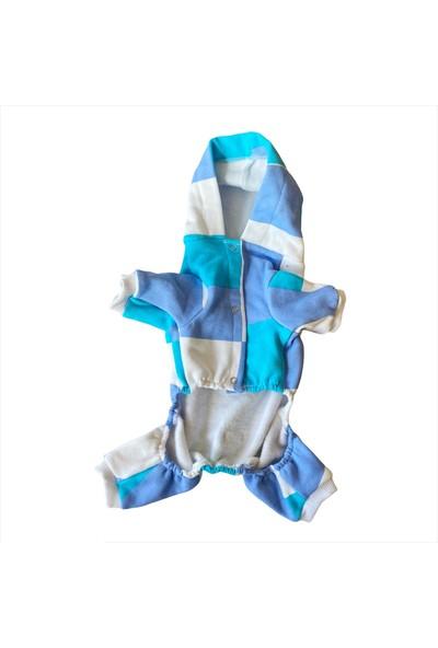 Trio Blue Squares Kedi Tulumu Kedi Kıyafeti