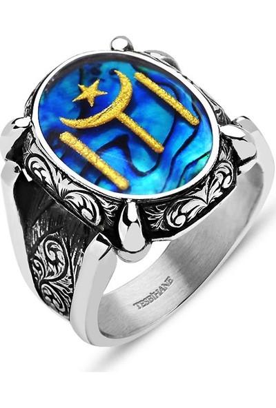 Sukha Aksesuar 925 Ayar Gümüş Okyanus Sedefli Altın Varaklı Geleneksel Kayı Boyu Yüzük