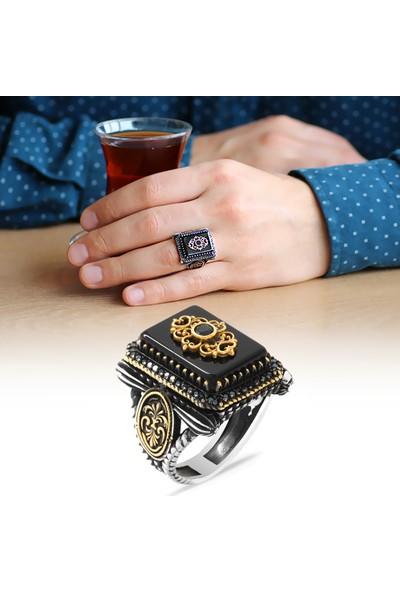 Sukha Aksesuar Anadolu Deseni Figürlü Oniks Taşlı 925 Ayar Gümüş Vezir-I Azam Yüzüğü