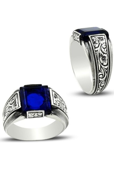 Sukha Aksesuar Erzurum El Işi Mavi Mineli Gümüş Yüzük
