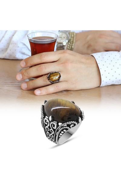 Sukha Aksesuar Kaplangözü Taşlı Ferforje Tasarım 925 Ayar Gümüş Erkek Yüzük