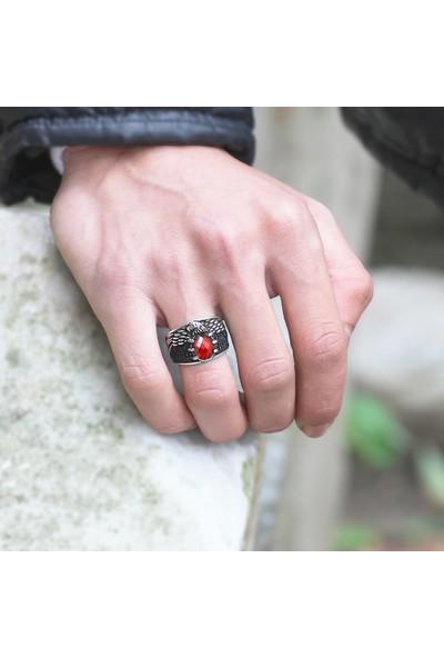 Sukha Aksesuar Kartal Pençesi Tasarım Kırmızı Zirkon Taşlı 925 Ayar Gümüş Erkek Yüzük