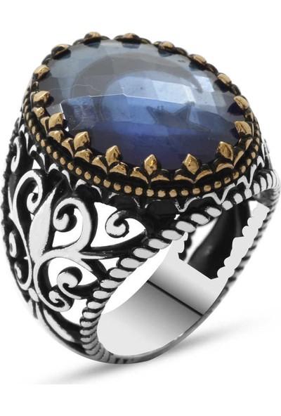 Sukha Aksesuar Mavi Zirkon Taş İçine Özel Ayyıldız İşlemeli 925 Ayar Gümüş Erkek Yüzük