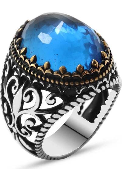Sukha Aksesuar Mavi Zirkon Taşlı Ferforje Tasarım 925 Ayar Gümüş Erkek Yüzük