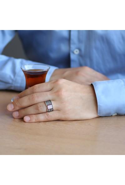 Sukha Aksesuar Zirkon Mikro Taş Süslemeli Kırmızı Akik Taşlı 925 Ayar Gümüş Erkek Yüzük