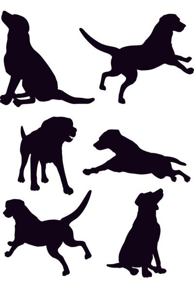 Mat Siyah Sevimli Köpekler Duvar Sticker 54 Adet