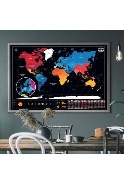 Popseker Ingilizce Colorfull Tasarım Eyaletli Güneş Sistemli Bayraklı Dünya Haritası World Map Dev Boy Xl