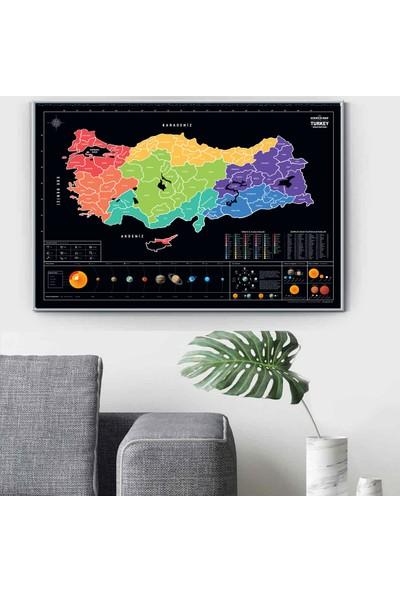 Popseker Colorfull Tasarım Türkiye Haritası Il Plakalı Güneş Sistemli Alan Kodlu Burç Sembollü Xl Dev Boy