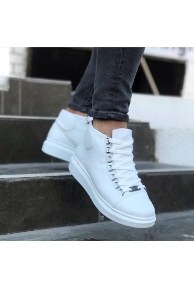 Pabucmarketi Beyaz Bağcıklı Sneakers Yarım Bilek Bot