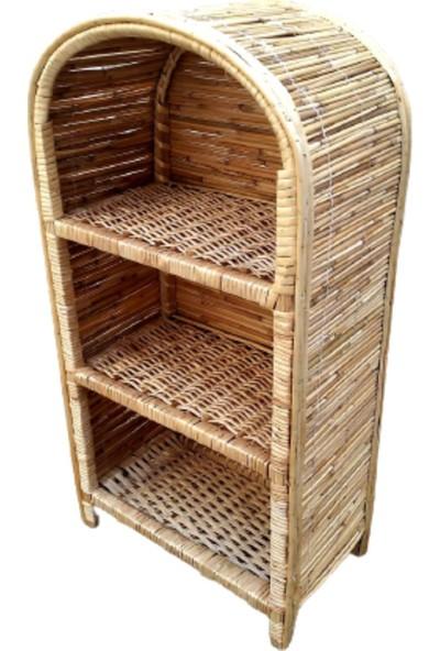 Dekoratif 3 Bölmeli Bambu Mutfak Banyo Kitaplık Çiçeklik Hasır Raf