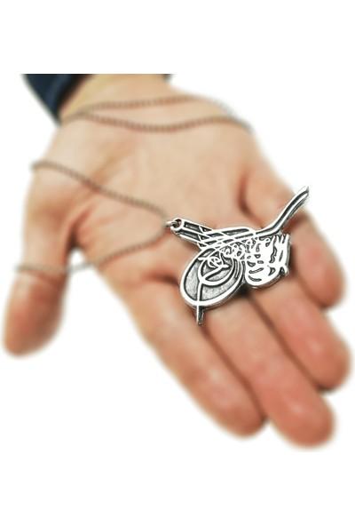 Spdesgns jewelry Zincirli Tuğra Kolye Gümüş Renk