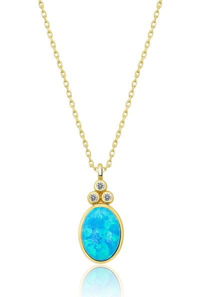 Papatya Silver 925 Ayar Oval Opal Taşlı Gümüş Kolye Altın Kaplama