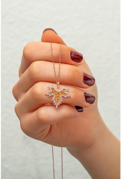 Papatya Silver Çınar Yaprağı Sonbahar Kolye Rose Altın Kaplama Gümüş
