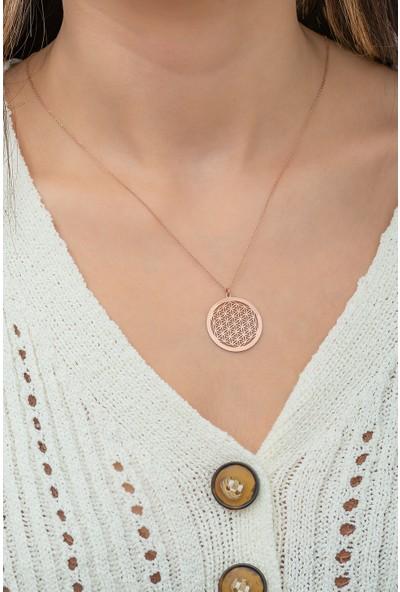 Papatya Silver Yaşam Çiçeği Kolye Rose Altın Kaplama 925 Ayar Gümüş