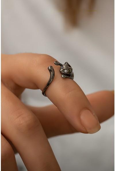 Papatya Silver 925 Ayar Siyah Rodyum Kaplama Gümüş Kedi Yüzük
