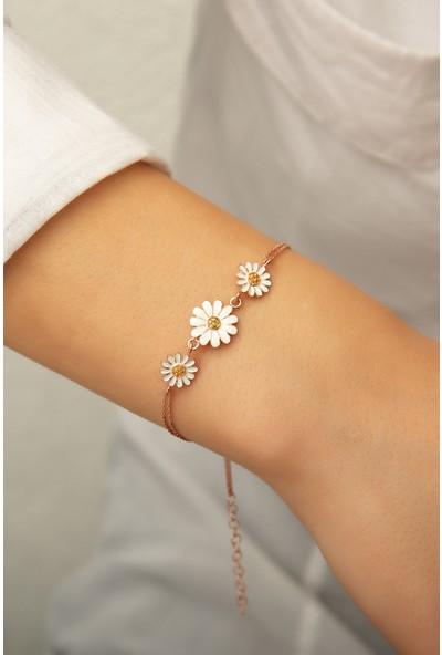Papatya Silver Üç Papatya Süzme Bileklik Sarı Nano Zirkon Taşlı Mineli Rose Altın Kaplama 925 Ayar Gümüş