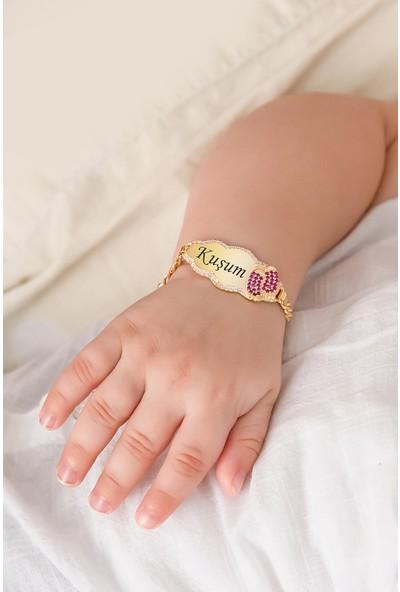 Papatya Silver Kuşum Yazılı Bulut Modeli Kız Bebek Künyesi 14 Ayar Altın Kaplama 925 Ayar Gümüş