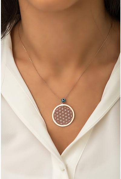 Papatya Silver Yaşam Çiçeği Nazar Gözlü Rose Altın Kaplama 925 Ayar Gümüş Kolye