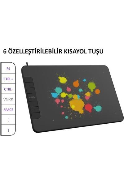 "Veikk VK640 6 x 4"" 6 Kısayol Tuşlu Grafik Tablet + Kalem"
