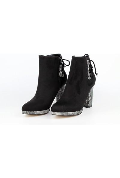 Marine Shoes Kadın Siyah Süet Topuklu Bot