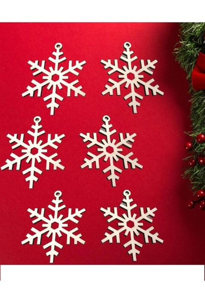 Partifabrik Yılbaşı Ahşap Ağaç Süsü Kar Tanesi 6 Parça