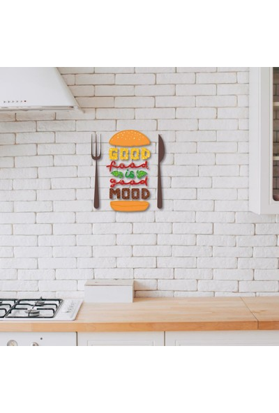 Meşgalem Ahşap Dekoratif Renkli Good Food Is Good Mood Mutfak Tablo Süsü