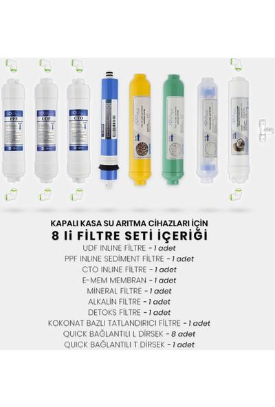 Mil Su Kapalı Kasa Su Arıtma Cihazı 8'li Filtresi E-Mem Membran Set
